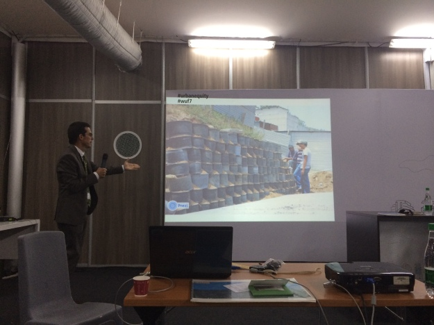 PCI's project manager presenting on Barrio Mio – a 24-month collaboration between PCI and USAID's Office of Foreign Disaster Assistance designed to transform a high-risk urban neighborhood in Guatemala into a resilient, safe, and productive community