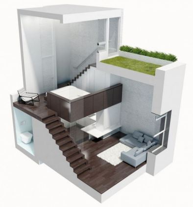 """Manhattan Micro Loft"" by Specht Harpman Architects, winner of the Architizer A + Award in the Small Living category. Though, in NYC, the savings from the small footprint of this home is nothing compared to the cost associated with the roof access to open air critical for its design success."