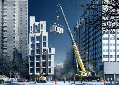 Winner of NYC Micro Units competition. Also utilizes modular construction technology. nArchitects (though I don't see much anarchy in the monochromatic style of that design... or is it just the light?)