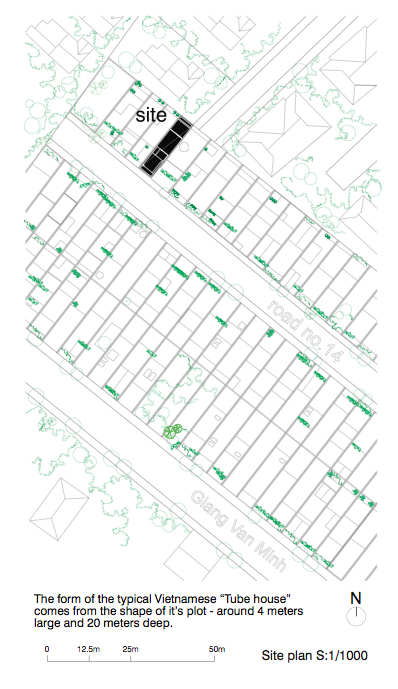 Architect Vo Trong Nghia's site plan for his green town home.