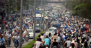 Typical traffic in Sai Gon during busy hours