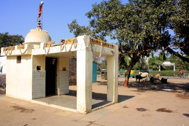The community temple marks the entrance to Ramesh Dutt Colony. The temple and the open space around it act as a semi-public space separating the main access road from the private spaces (i.e. houses) on the other side.
